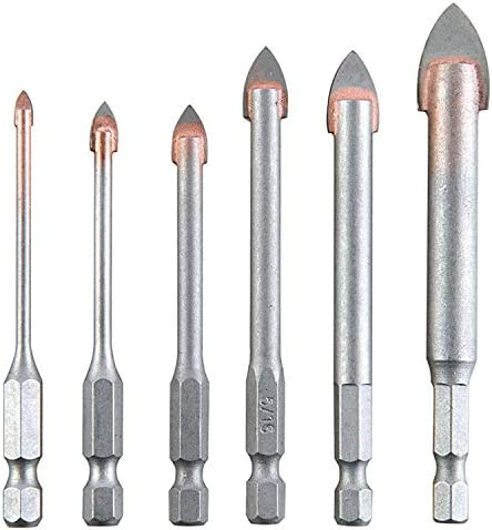Tile Glass Drill Bits Set, 6Pcs Masonry Carbide Tips Drilling Bits for Soft Ceramic Tile, Mirror, Plastic | Spiral Slot 1/8, 3/16, 1/4, 5/16, 3/8, 1/2 Inch