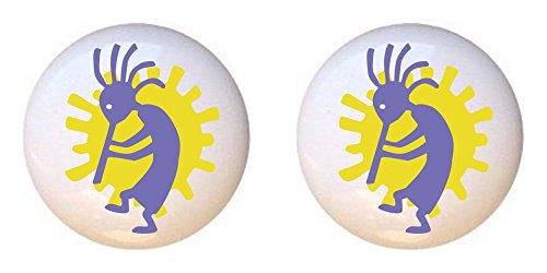 SET OF 2 KNOBS - Kokopelli Design #006 - GF Images - DECORATIVE Glossy CERAMIC Cupboard Cabinet PULLS Dresser Drawer (Kokopelli Cabinet Knob)