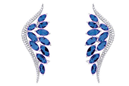 6.40 Ct Marquise Cut Simulated Blue Sapphire Ear Crawler Earrings In 14K White Gold Over Sterling Silver