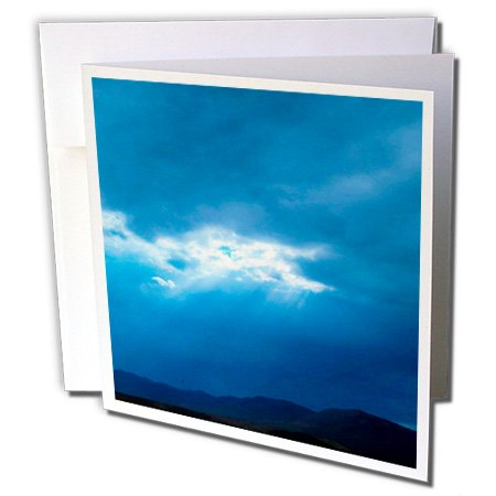 3dRose Jos Fauxtographee- Rays through the Clouds - A deep blue sky with clouds and sunlight beaming through - 1 Greeting Card with envelope (gc_255956_5)