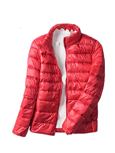 Lightweight Down Jacket Female Short Paragraph New Stand Collar Slim XL Jacket(Red Large) -
