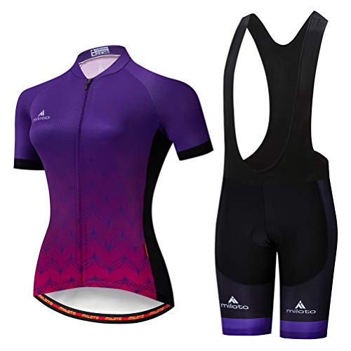 Bib Cycling Free Short (Uriah Women's Cycling Jersey Bib Shorts Sets Short Sleeve Reflective Dark Purple Size M(CN))