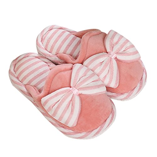 Elevin(TM)Women Winter Warm Home Floor Soft Bowknot Slippers Cotton-padded Shoes Hotpink bODvmafqd