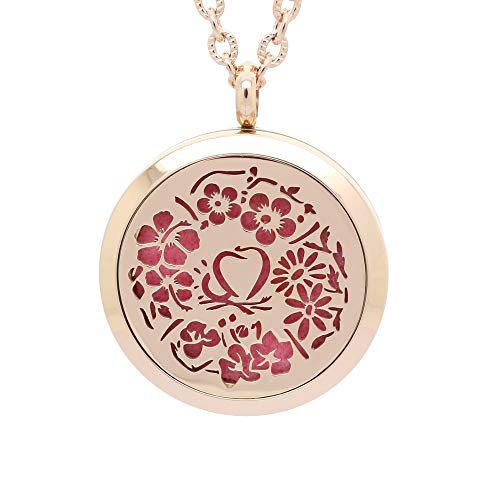 Flowers of Love Aromatherapy Necklace and Four Seasons Pendant, Chenier Design Rose Gold Jewelry