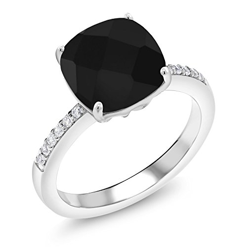 (Gem Stone King Black Onyx 925 Sterling Silver Women's Ring 3.72 Ctw Cushion Checkerboard Cut (Size)