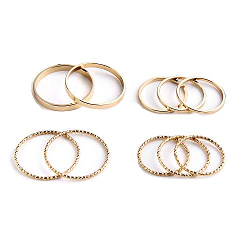 SOTOLAN 10 PCS Simple Bohemian Crystal Joint Knuckle Ring Sets Finger Rings Midi Ring Set Stackable (Gold) - Stackable Gold