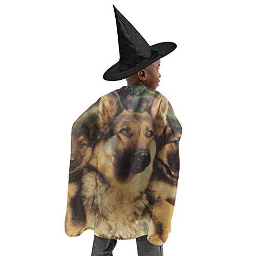 YUIOP Deluxe Halloween Children Costume German Shepherd Pattern Wizard Witch Cloak Cape Robe and Hat ()