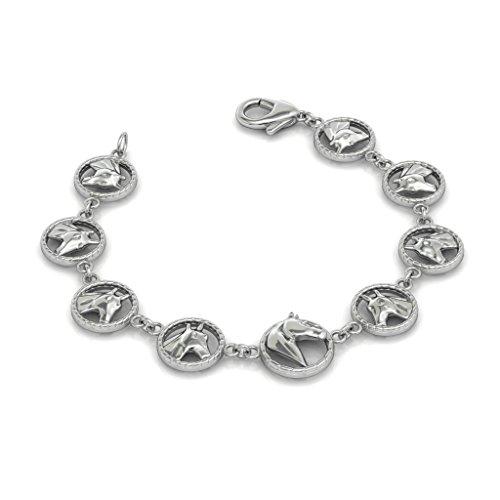Equestrian Charm Link Horse Head Bracelet in 925 Sterling Silver (Horse Bracelet Silver Sterling Head)