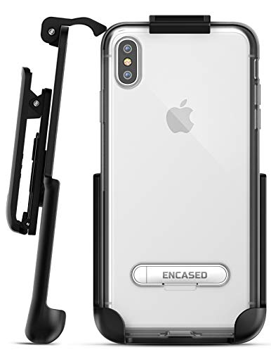 (Encased iPhone Xs MAX Belt Clip Clear Case with Holster Clip, Ultra Slim Fit Transparent Cover with Metal Kickstand and Belt Holder (Reveal Series) for Apple iPhone Xs MAX Phone (Clear Back))