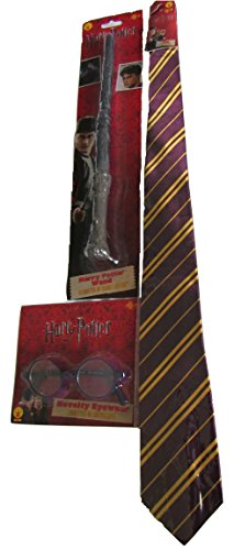 Harry Potter Accessories Bundle Tie, Glasses and Wand.