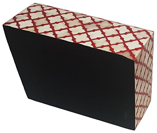 Decorative Jeweler Storage Box Moorish Damask Moroccan Carved Inspired Handmade Naturals Bone with Red Resin to highlight design. Size 7x5x2.5 inch