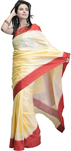 Exotic India Plain Chamomile-Cream Puja Sari with Wide Red Border