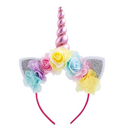 Fancy Flower Girls Unicorn Costume Rainbow Dress up for Pageant Princess Party Fall Tutu Xmas Halloween Clothes Headband 6-7 Years]()