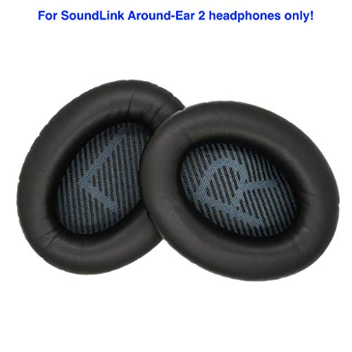 Replacement Ear Cushions for Bose SoundLink Around-Ear 2 Headphones. Complete with Correct Colour and Shaped Scrims with 'L and R' Lettering (SLAE2, Black) (Soundlink Around Ear Bluetooth Headphones Ear Cushion Kit)