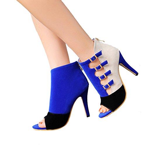 Aiyoumei Scarpe Da Donna Con Tacco A Punta Nabuk E Tacco Alto Sandali Con Tacco Alto Gladiatore Con Fibbia E Cerniera Blu