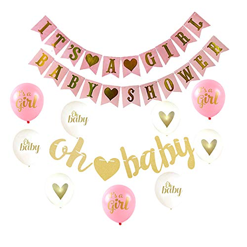 It's A Girl, Oh Baby, 14 Piece Baby Shower Decorations Set BabyShower Decor For Girl Incudes 3 Party Banners Balloons White, Pink and Gold Party Set]()