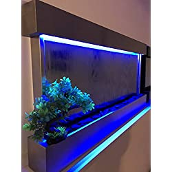 """Jersey Home Decor Wall Waterfall XL 47""""x24"""" St Steel Frame Wall Fountain, Mirror, Color Lights Remote Ctrl Sale"""