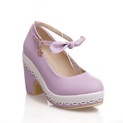Charms Shoes Round Solid Toe Women's Buckle Heels Closed PU Purple with WeiPoot Pumps High BwYqvX77