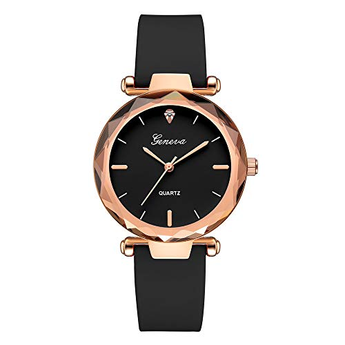 Womens Watches Geneva Silica Band Analog Quartz Wrist Watch Rhinestone Leather Quartz Wrist Dress Watch Ladies (Black)