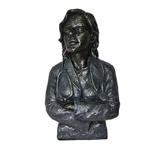 (Décor Doctor Female Statue Sculpture in Patina Black)