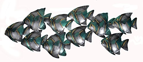 Beautiful Unique Aqua Teal Nautical School of Fish Contemporary Metal Wall Art