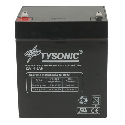 Tysonic TY-12-5 Sealed Lead Acid Rechargeable Battery, 12V, 5Ah, 4