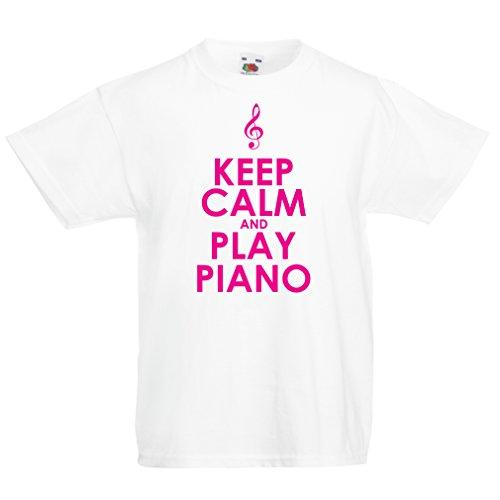 lepni.me Camisas para niños Play Piano - Citas del músico (12-13 Years Blanco Magenta)