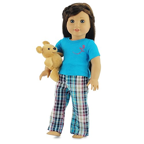 (18 Inch Doll Clothes Plaid Pajamas PJs with Teddy Bear | Fits 18