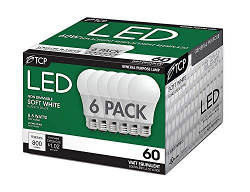 TCP 60 Watt A19 LED Soft White 6 Pack, Non-Dimmable Light Bulbs