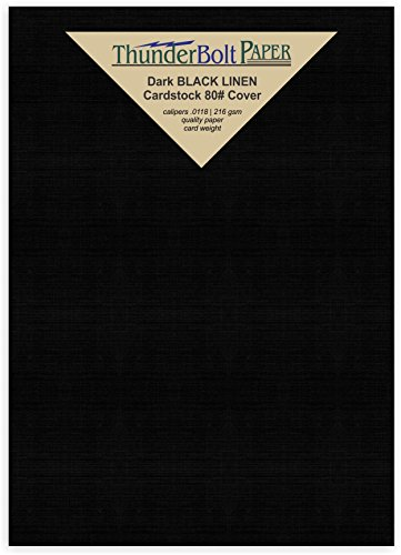 50 Black Linen 80# Cover Paper Sheets - 5.5'' X 8.5'' (5.5X8.5 Inches) Half Letter | Statement Size - Card Weight - Deep Dye, Fine Linen Textured Finish - Quality Cardstock by ThunderBolt Paper