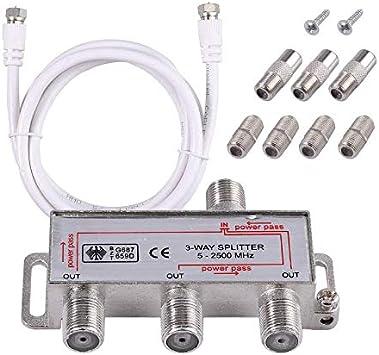 Neoteck 3 vías TV Splitter Antena TV Cable de Banda Ancha Splitter Kit 1 Entrada 3 Salida Macho a Hembra Cable Coaxial Adaptador de Divisor con Cable ...