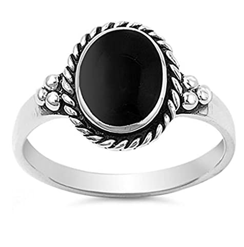 Sterling Silver Simulated Black Onyx Vintage Ladies Ring 12mm ( Size 5 to 11 ) (Vintage Ring Size 5)
