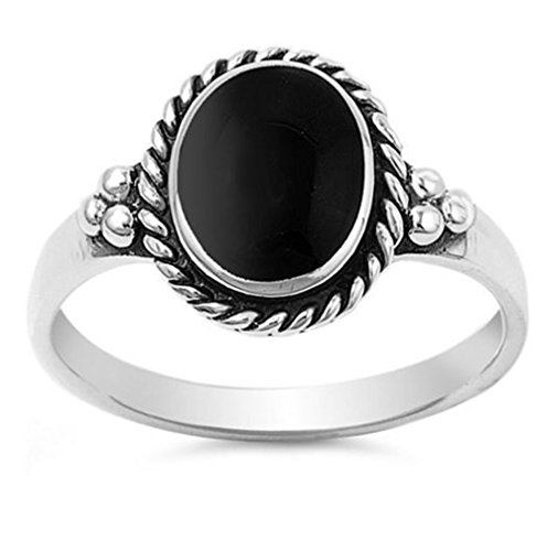 Sterling Silver Simulated Black Onyx Vintage Ladies Ring 12mm ( Size 5 to 11 ) (Black Vintage Onyx)