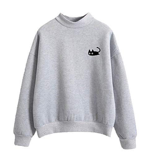 HULKAY Halloween Women Tops Sale Clearance Long Sleeve Round Neck Cat Printed Casual Shirt Blouse Sweater Sweatshirt(Gray,L) for $<!--$7.23-->