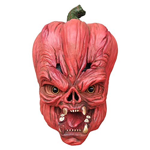Aqkilo Pumpkin Head Mask Halloween Costume Party Latex Creepy Mask Orange