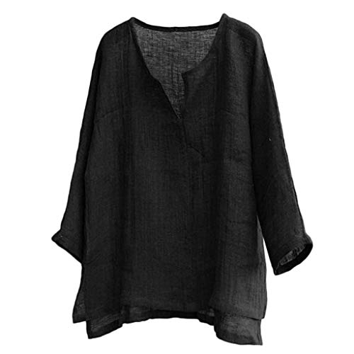 Plus Size Linen Tops Mens Long Sleeve Loose Casual T Shirt Blouse Brief Breathable Comfy Solid Color Shirts by Gyouanime Black ()
