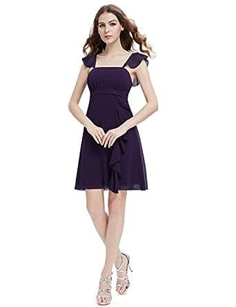 HE03337PP08, Purple, 6US, Ever Pretty Ruffles Calf-length Empire Line Bridesmaid Dress 03337
