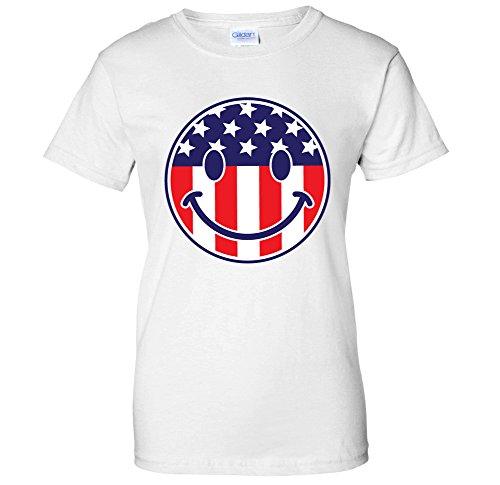 Face Emoji Emoticon - Stars & Stripes USA WOMENS T-Shirt (XL White) ()