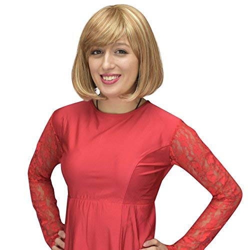 Sepia Cindy Wig by West Bay Mid Length Strawberry/Bleach Blonde Bob Style Synthetic Wig for Women Crossplayers Crossdressers Transgenders