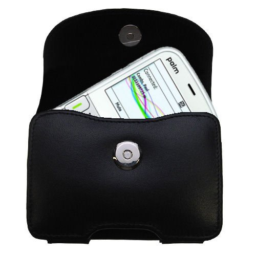 - Belt Mounted Leather Case Custom Designed for the Palm Treo 500 500v - Black Color with Removable Clip by Gomadic