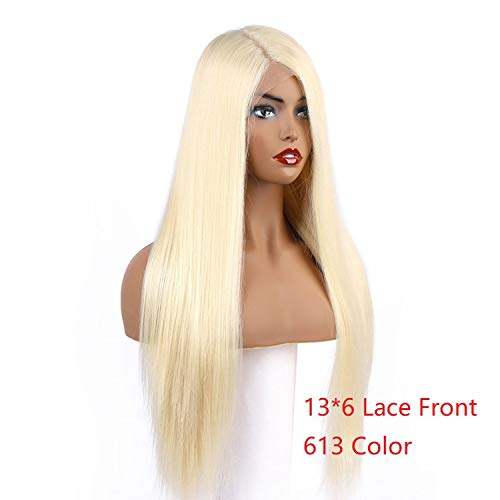136 Lace Frontal Synthetic Wigs Platinum Blonde Silky Straight Costume Wigs Long Lace Front Wig Full for Women,13x6 Lace Front 613,24inches