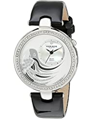 Akribos XXIV Womens AK602BK Lady Diamond Parrot Dial Swiss Quartz Leather Strap Watch