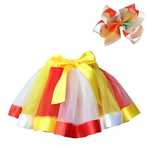 (BGFKS Layered Ballet Tulle Rainbow Tutu Skirt for Little Girls Dress Up with Colorful Hair Bows (Yellow Rainbow, M,2-4 Age))