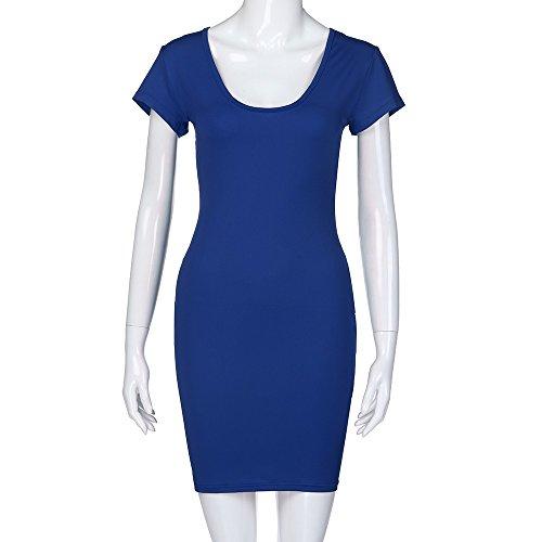 Ladies Sexy Dress,LuluZanm Women Short Sleeve Solid V-Neck Slim Casual Mini Beach Dress Blue by Luluzanm-Dress (Image #4)