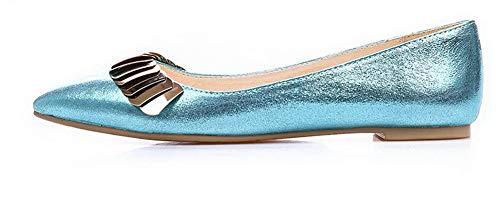 Donna A Scarpe Ballet Puro AgooLar GMMDB006385 Flats Azzurro Tessuto Perla Punta BITqxdq
