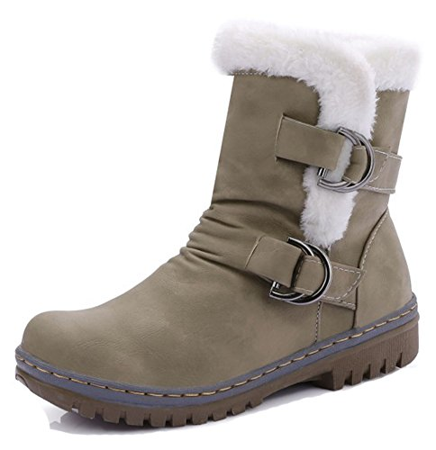 Aisun Womens Comfy Warm Round Toe Buckle Strap Flat Pull On Snow Ankle Boots Winter Booties Shoes Army Green rXeaJxqI