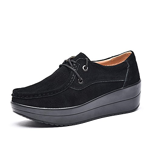 Mocassini Piattaforma Donna Enllerviid Comfort Mocassini Scamosciati Slip On Fashion Sneakers Shoes 525 Black