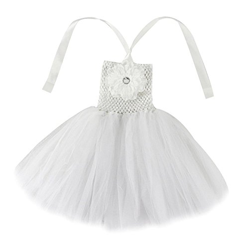 Wennikids Baby Girls TUTU Dress Crochet Tube Top Baby Pettiskirt with Match Flower Large White -