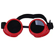 Vintage Rustic Cyber Goggles Steampunk Welding Goth Cosplay Photo Glasses (Red)