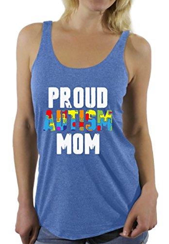 Awkward Styles Proud Autism Mom Racerback Tank Top for Women Autism Awareness Blue XL Awareness Tank